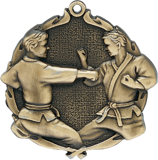 "Karate Wreath Medal, 2 1/2"" in gold"