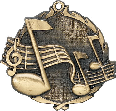 "Music Wreath Medal, 2 1/2"" in gold"