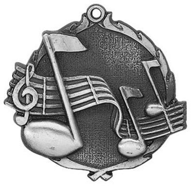 "Music Wreath Medal, 2 1/2"" in silver"