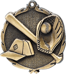 "Baseball Wreath Medal, 2 1/2"" in gold"