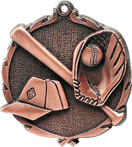 "Baseball Wreath Medal, 2 1/2"" in bronze"