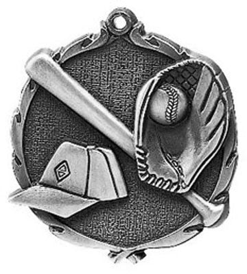 "Baseball Wreath Medal, 2 1/2"" in silver"