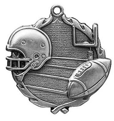 "Football Wreath Medal, 2 1/2"" in silver"
