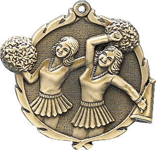 "Cheer Wreath Medal, 2 1/2"" in gold"