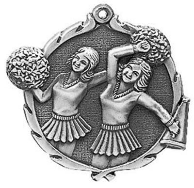 "Cheer Wreath Medal, 2 1/2"" in silver"