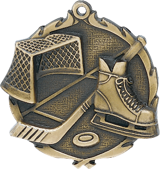 "Hockey Wreath Medal, 2 1/2"" in gold"