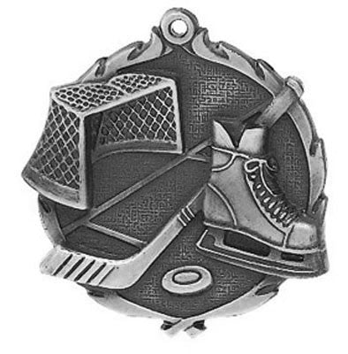 "Hockey Wreath Medal, 2 1/2"" in silver"