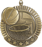 "Basketball Star Medal, 2 3/4"" in gold"