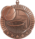 "Basketball Star Medal, 2 3/4"" in bronze"