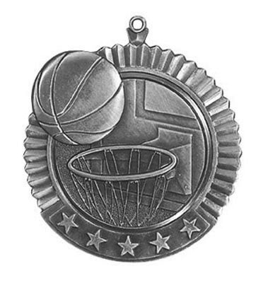 "Basketball Star Medal, 2 3/4"" in silver"