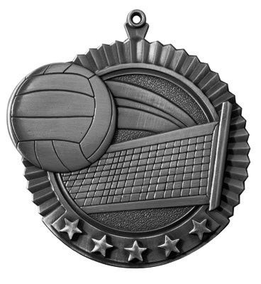 "Volleyball Star Medal, 2 3/4"" in silver"
