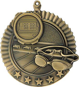 "Swimming Star Medal, 2 3/4"" in gold"