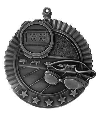 "Swimming Star Medal, 2 3/4"" in silver"