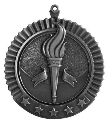 "Victory Star Medal, 2 3/4"" in silver"