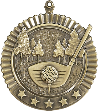"Golf Star Medal, 2 3/4"" in gold"