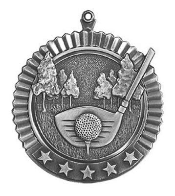"Golf Star Medal, 2 3/4"" in silver"