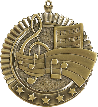 "Music Star Medal, 2 3/4"" in gold"
