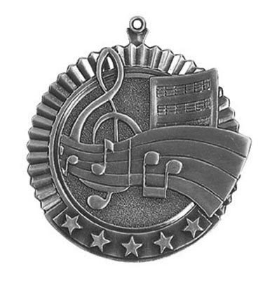 "Music Star Medal, 2 3/4"" in silver"