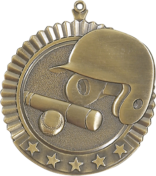 "Baseball Star Medal, 2 3/4"" in gold"