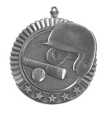 "Baseball Star Medal, 2 3/4"" in silver"