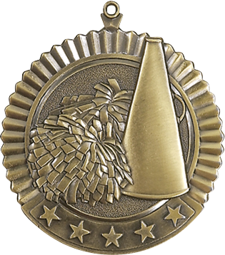 "Cheer Star Medal, 2 3/4"" in gold"