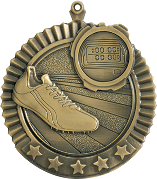 "Track Star Medal, 2 3/4"" in gold"
