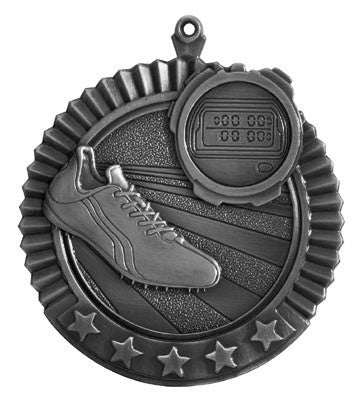 "Track Star Medal, 2 3/4"" in silver"