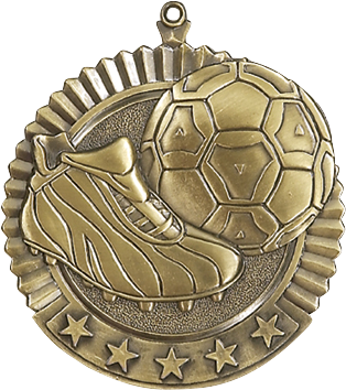 "Soccer Star Medal, 2 3/4"" in gold"