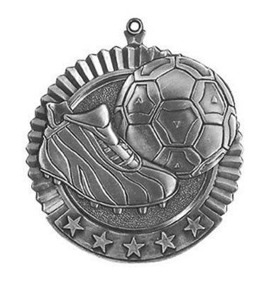 "Soccer Star Medal, 2 3/4"" in silver"