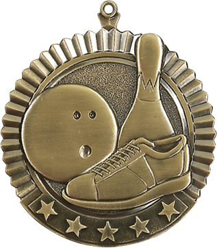 "Bowling Star Medal, 2 3/4"" in gold"
