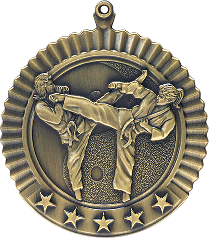 "Karate, Female, Star Medal, 2 3/4"" in gold"