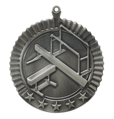 "Gymnastics, Female, Star Medal, 2 3/4"" in silver"