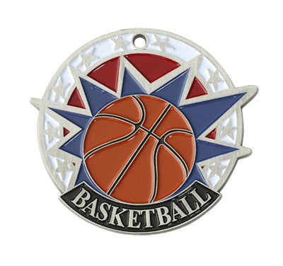 "Basketball USA Sport Medal, 2"" in silver"
