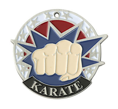 "Karate USA Sport Medal, 2"" in silver"