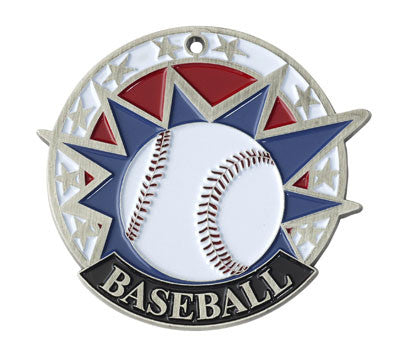 "Baseball USA Sport Medal, 2"" in silver"