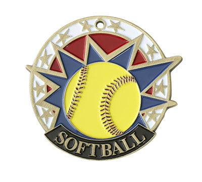 "Softball USA Sport Medal, 2"" in gold"