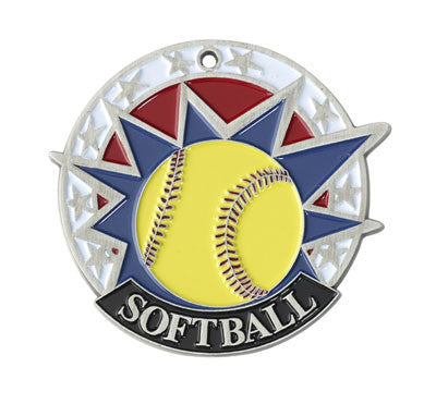 "Softball USA Sport Medal, 2"" in silver"
