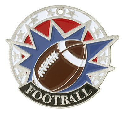 "Football USA Sport Medal, 2"" in silver"