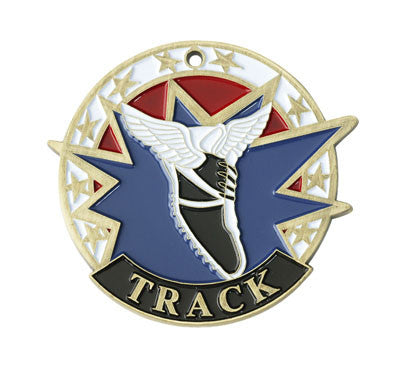 "Track USA Sport Medal, 2"" in gold"