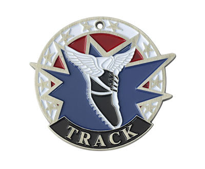 "Track USA Sport Medal, 2"" in silver"