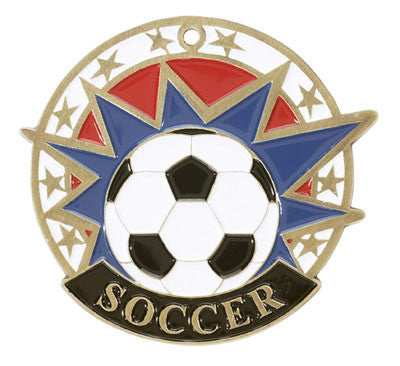 "Soccer USA Sport Medal, 2"" in gold"