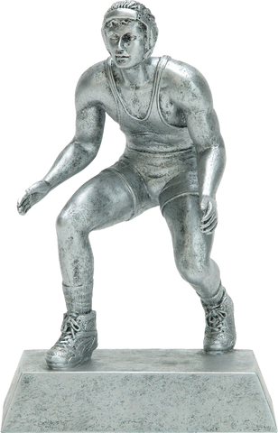 Wrestling, Male, Resin Figure in Silver