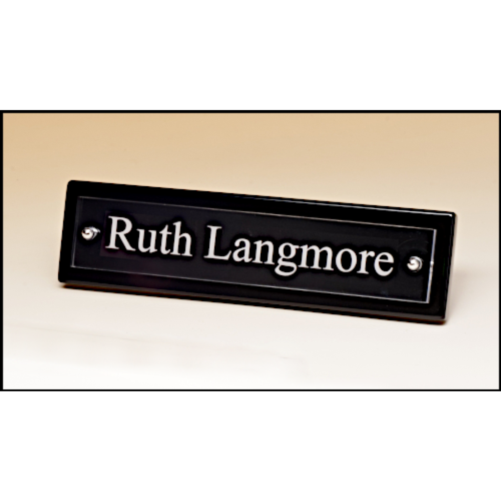 Black piano finish nameplate with acrylic engraving plate