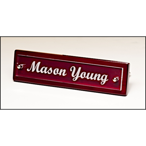 Rosewood piano finish nameplate with acrylic engraving plate