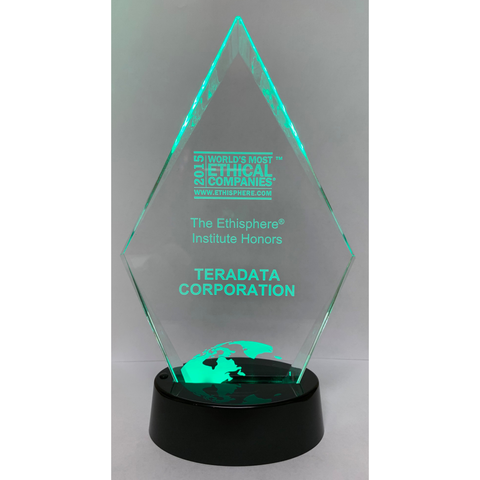 Diamond Series Clear Acrylic with Black Plastic LED Illuminated Base, 3 Sizes, 7 Colors