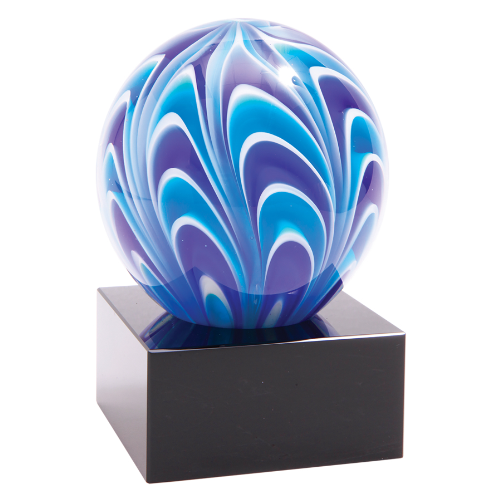 Two-Tone Blue & White Sphere Art Glass Mounted on Black Glass Base, 5""