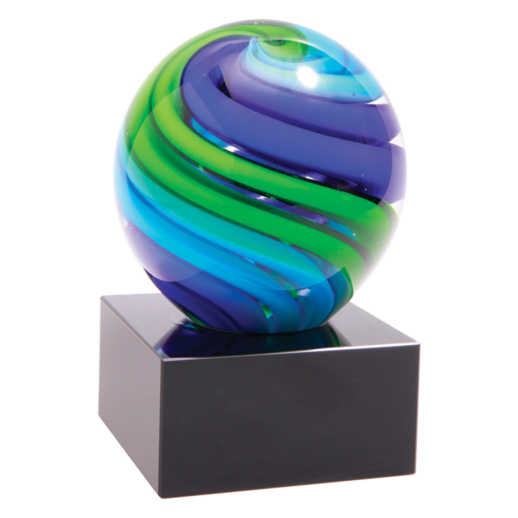 Two-Tone Blue & Green Sphere Art Glass Mounted on Black Glass Base, 5""