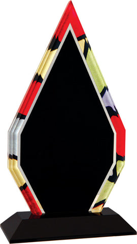 "Stained Glass Series, 1/2"" thick diamond acrylic with printed stained glass pattern border, 9"""