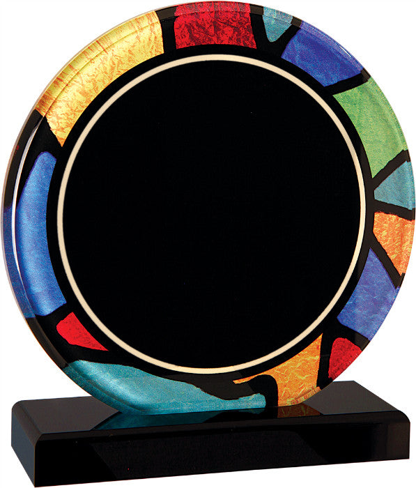 "Stained Glass Series, 3/8"" thick round acrylic with printed stained glass pattern border, 6 1/4"""