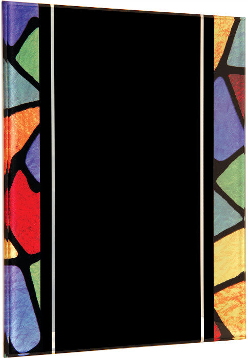 Acrylic plaque with printed stained glass pattern border, 7x9